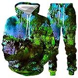 DREAMING-Jersey de manga larga Conjunto de suéter + pantalón informal para hombres y mujeres con salpicaduras de tinta Impresión digital 3D camiseta de manga larga traje de béisbol L