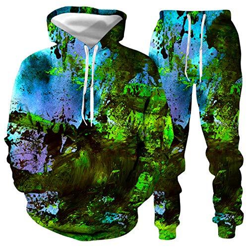 DREAMING-Jersey de manga larga Conjunto de suéter + pantalón informal para hombres y mujeres con salpicaduras de tinta Impresión digital 3D camiseta de manga larga traje de béisbol XL