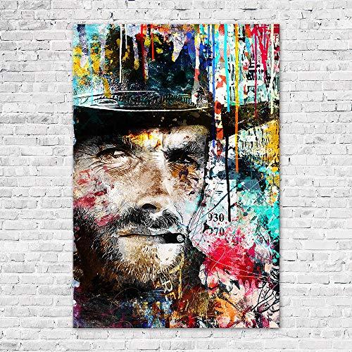 Zabarella - Cuadro Clint Eastwood Vintage lienzo impreso sobre bastidor, decoración de pared para salón o dormitorio (60 x 90 cm)