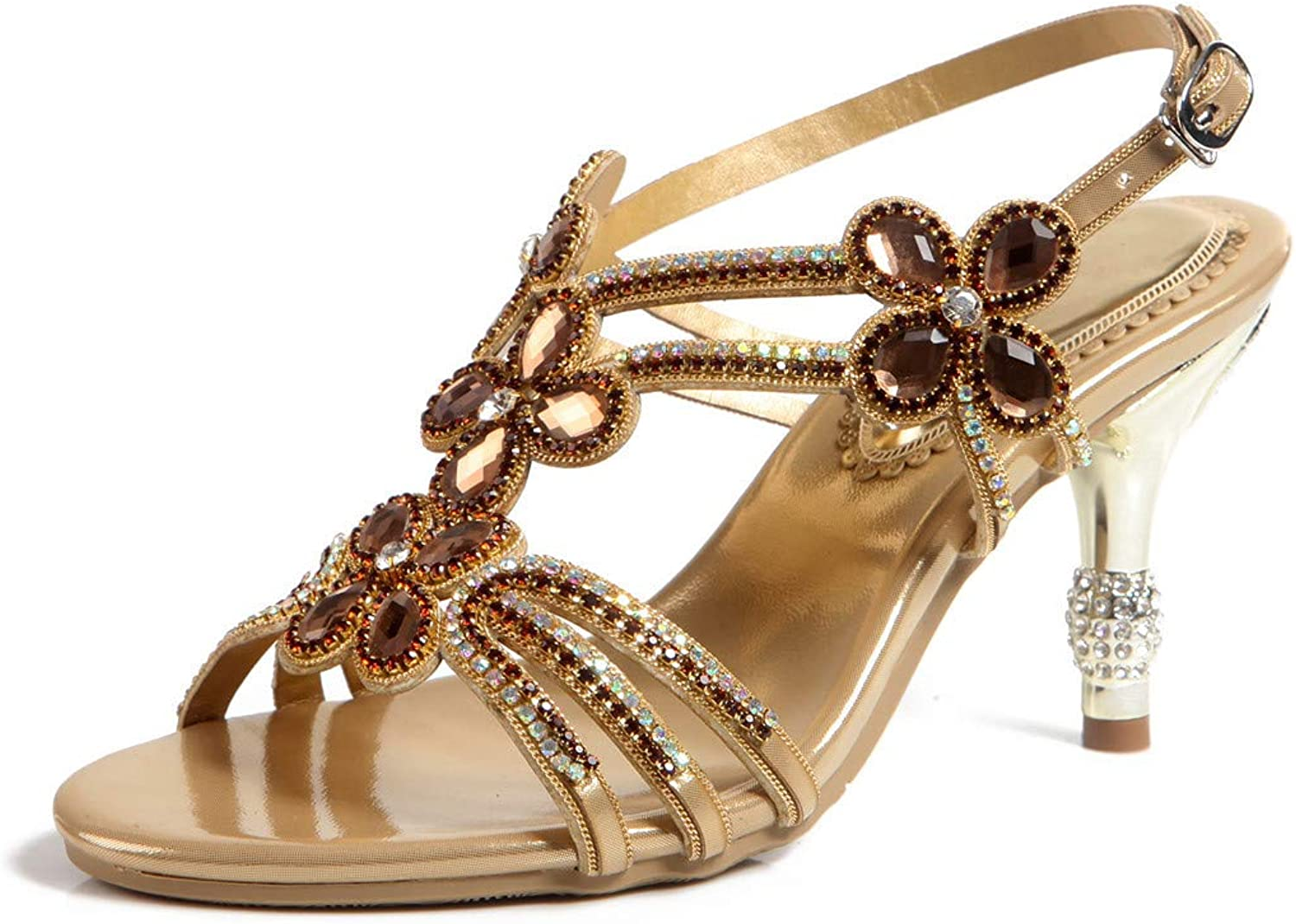 LLBubble Stiletto Heels Rhinestone Sandals for Wedding Open Toe Ankle Buckle Strap Leather Prom Evening Party Dress Sandals ZX-L006