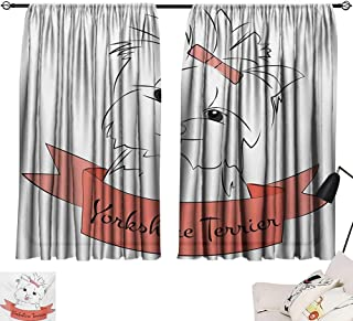 Tankcsard Tie Up Printed Blackout Curtain Yorkie,Cute Puppy with Hair Buckle Yorkie Terrier Animal Ribbon Cartoon Character Print,Pink White 72