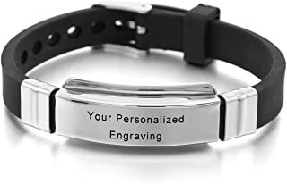 MeMeDIY Silver Tone Stainless Steel Rubber Bracelet Bangle Cuff - Customized Engraving