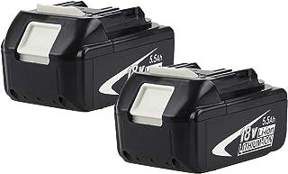 2 Pack 18V BL1860B batería de Repuesto batería 18 V BL1830 BL1840 BL1845 BL1815 BL1820 BL1860B LXT-400 18-Volt Ordless Pow...