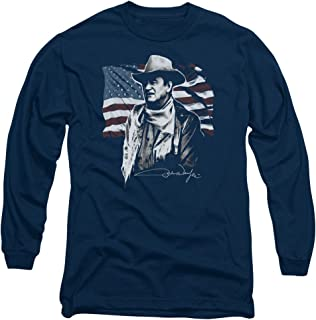 John Wayne Hollywood Icon Actor American Legend Flag Adult Long-Sleeve T-Shirt
