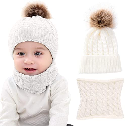 2PCS Toddler Baby Knit Hat Scarf Winter Warm Beanie Cap with Circle Loop  Scarf Neckwarmer 97c40ae44c5e