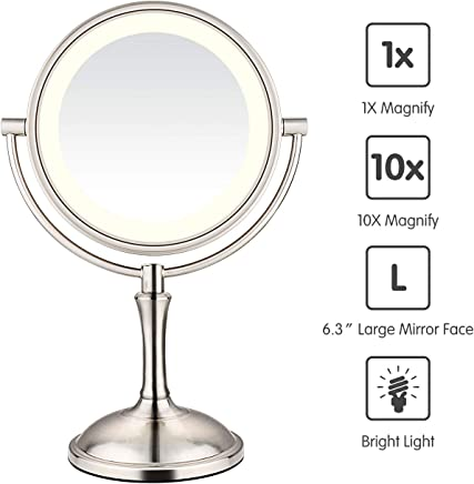 AmnoAmno LED Makeup Mirror-10x Magnifying, 7.8 Double Sided Lighted Vanity Makeup Mirror with Stand,  Touch Button Adjustable Light-Cord or Cordless