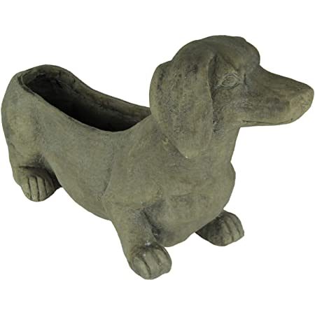 Amazon Com Rufus Doxin Dog Planter By Blobhouse Decorative Planter W Drain Hole Statue For Home Outdoor Garden Lawn Indoor Art Accent Sculpture Home Kitchen