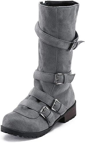 Hhor Bottes Bottes Femmes Chaussures Chaussures Décontractées Bottes Martin Bottes Femmes Bottes Bottes Longues Bottes Longues Bottes Bottes Bottes élastiques (Couleuré   gris, Taille   41 EU)  première réponse