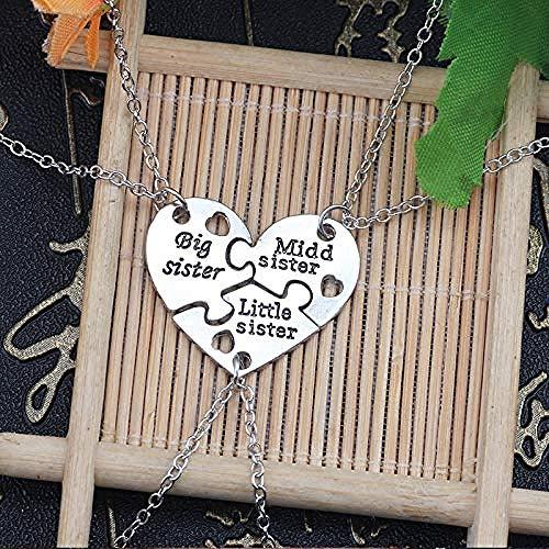 Collar 3 Piezas Big Middle Little Sisters Colgantes Collares Conjuntos Puzzle Corazón Collar Declaración BFF Amistad para Niñas Mujeres Regalos