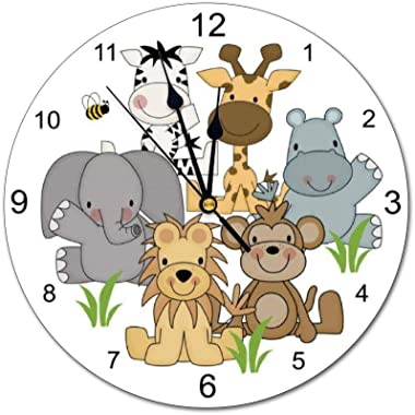 yyone Decorative Wall Clock Safari Animals Baby Nursery Kids Jungle Room with Personalized Name for Kids,Girl,boy Wall Clock