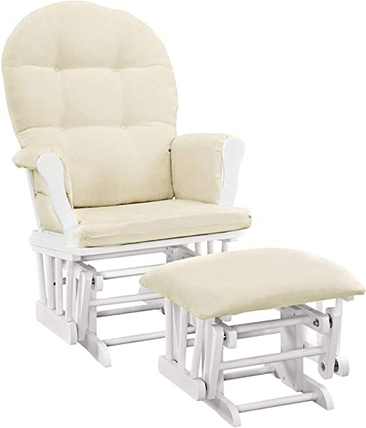 Angel Line Windsor Glider And Ottoman White Finish And Beige Cushions 1 Pack White With Beige