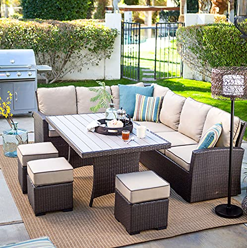 Rattan 5-Piece Garden Furniture Set with Dining Table, armchairs and stools, can accommodate up to 4 People, Garden and Balcony Dining Table Set, Including Interior Decoration