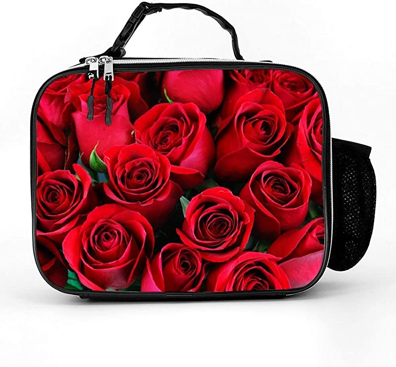 Red Rose Lunch Box With Padded Liner Spacious Insulated Lunch Bag Durable Thermal Lunch Cooler Pack For Boys Men Women Girls Adults