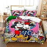 MYLZZ BT024 Disney Mickey Minnie - Set di biancheria da letto per bambini, 1 copripiumino 135 x 200 cm, 2 federe 80 x 80 cm (8,200 x 200 cm/80 x 80 cm)