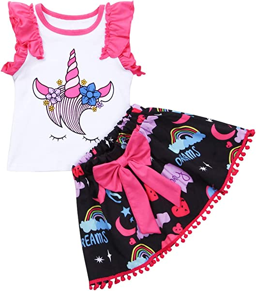 Jinbaolong 2PCS Pretty Girls Clothing Toddler Kids Baby Girl Unicorn Sleeveless Outfits Tops Shirt Bow Short Skirt Clothes Set 0 4T