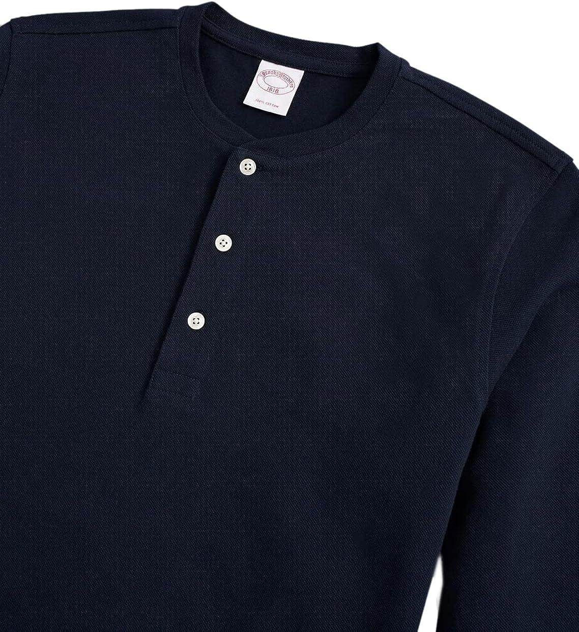 Brooks Brothers Men's Original Fit Long Sleeve Three Button Pique Cotton Henley Shirt