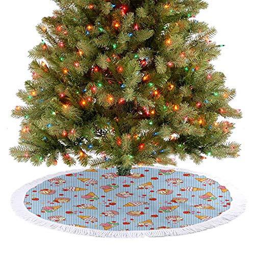 """Falda grande para árbol de Navidad con diseño de cerezas, a cuadros, con corazones y texto en inglés """"Love"""""""