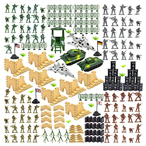250 Piece Military Figures and Accessories, Army Men Action Figures Army Toys Set Military Toy Soldier Playset Toy Army Soldiers