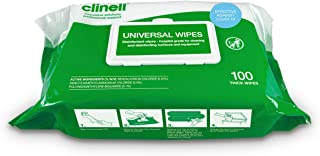 Clinell Universal Cleaning and Antibacterial Multi-Purpose Large Thick Wipes, Fast & Effective, Green, 100 Count