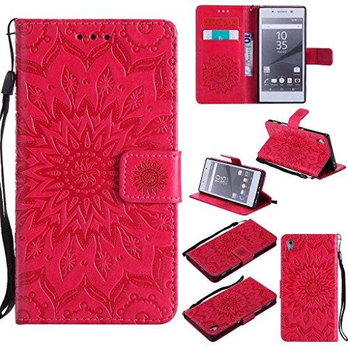 KKEIKO Hülle für Sony Xperia Z5, PU Leder Brieftasche Schutzhülle Klapphülle, Sun Blumen Design Stoßfest Handyhülle für Sony Xperia Z5 - Rot