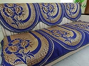 Griiham Sofa Cover Unique Floral Design Royal Blue - (3+1+1) 90% Cotton 10% Polyster AT03