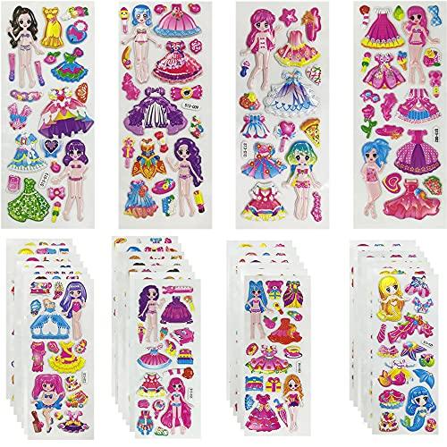 Adesivi Bambini,Stickers Bambine 3D 64 bit Principessa Sirena Supermodello Vestire Adesivi 500 Adesivi Abbinati ai Personaggi,Regali per Ragazze Gadget(32 fogli)