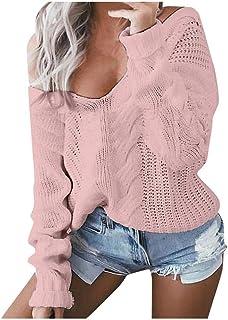 VJGOAL Mujer Jerséis Otoño Invierno Moda Casual Suéter Hueco Sólido Elegante Jersey Suelto con Cuello En V Manga Larga Cam...