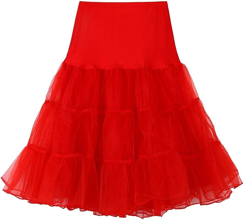 TUSANG Womens Casual High Waist Pleated Short Skirt Adult Tutu Dancing Skirt Red
