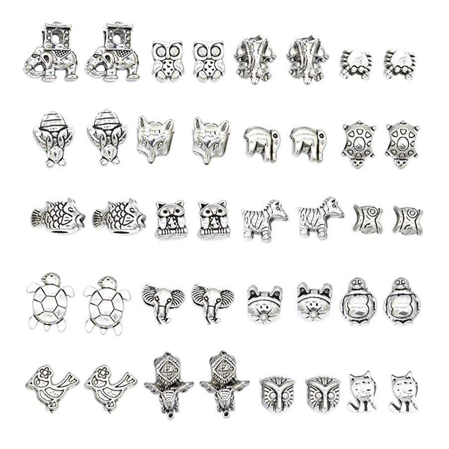 Mystart 40 Pcs Alloy Animal Large Hole Beads Charms Loose Beads DIY Jewelry Accessories