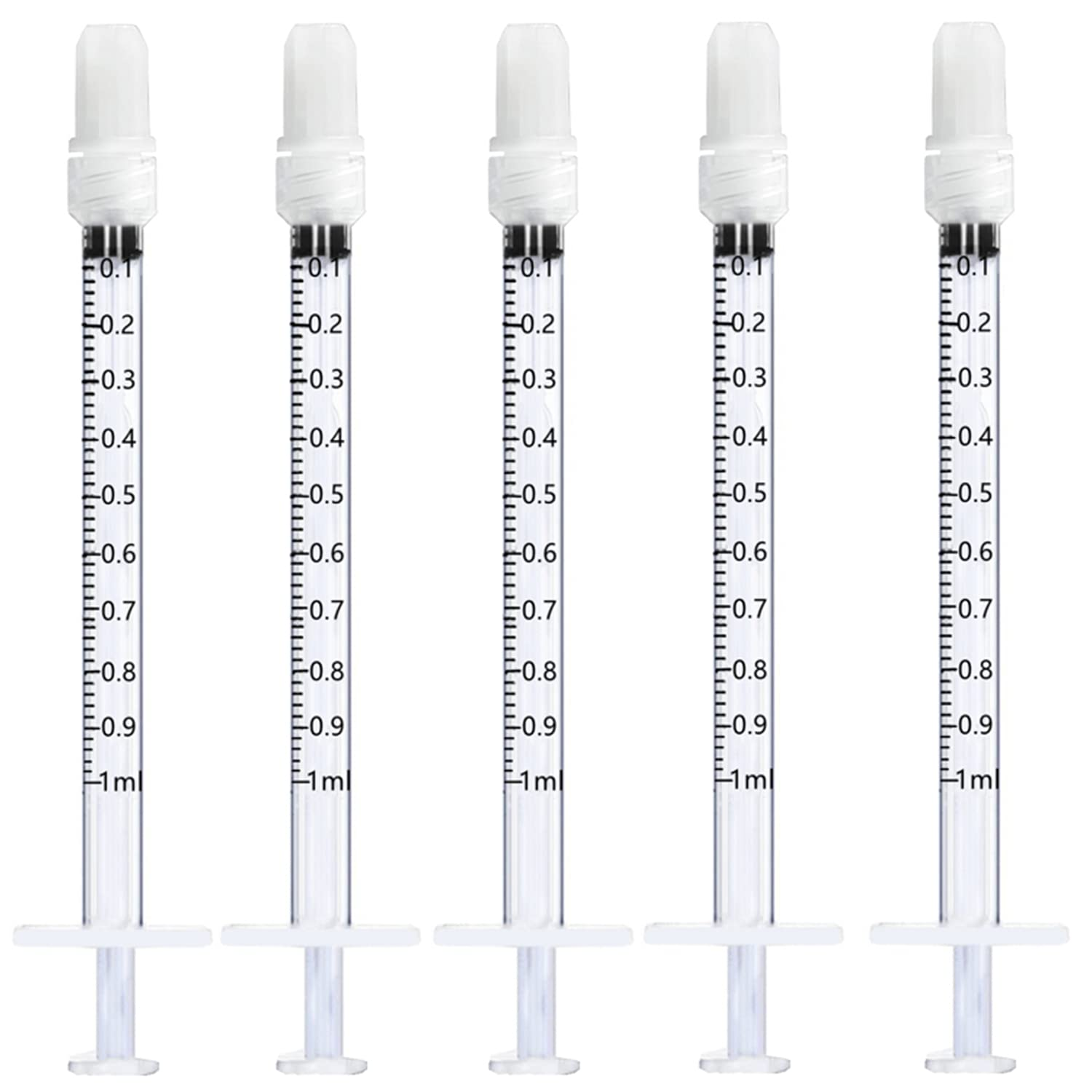 1ml Plastic Luer National uniform free shipping Max 79% OFF Lock Syringes with DI for Labs Scientific Cap