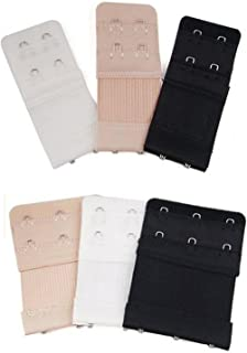 6pcs Women Ladies Soft Comfortable Back Bra 2 Hooks / 3 Hooks / 4 Hooks Band Extension Strap Extender, White/Black/Khaki
