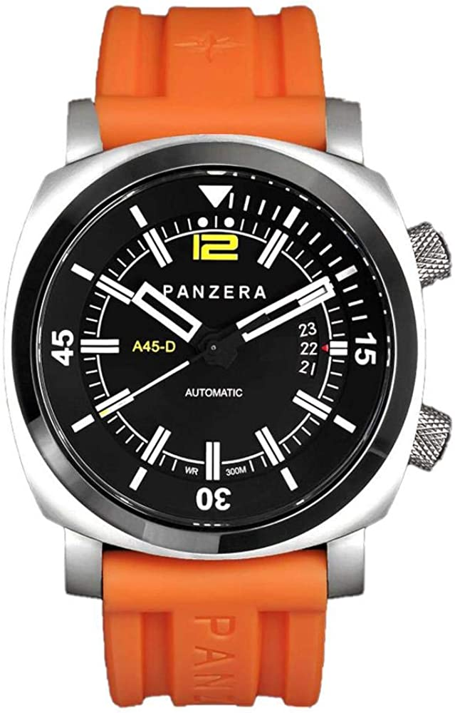Panzera Aquamarine Pro Diver Infinity Sunset Automático Diver Acero Silicona Naranja Fecha Negro Reloj Hombre