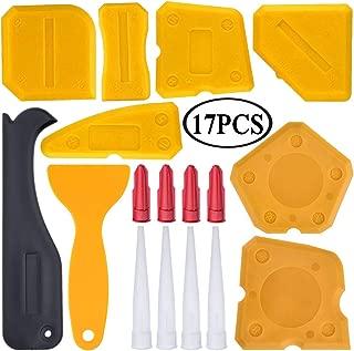 17 Pieces Caulking Tool Kit Silicone Sealant Finishing Tool Grout Scraper Caulk Remover and Caulk Nozzle and Caulk Caps (Yellow) …
