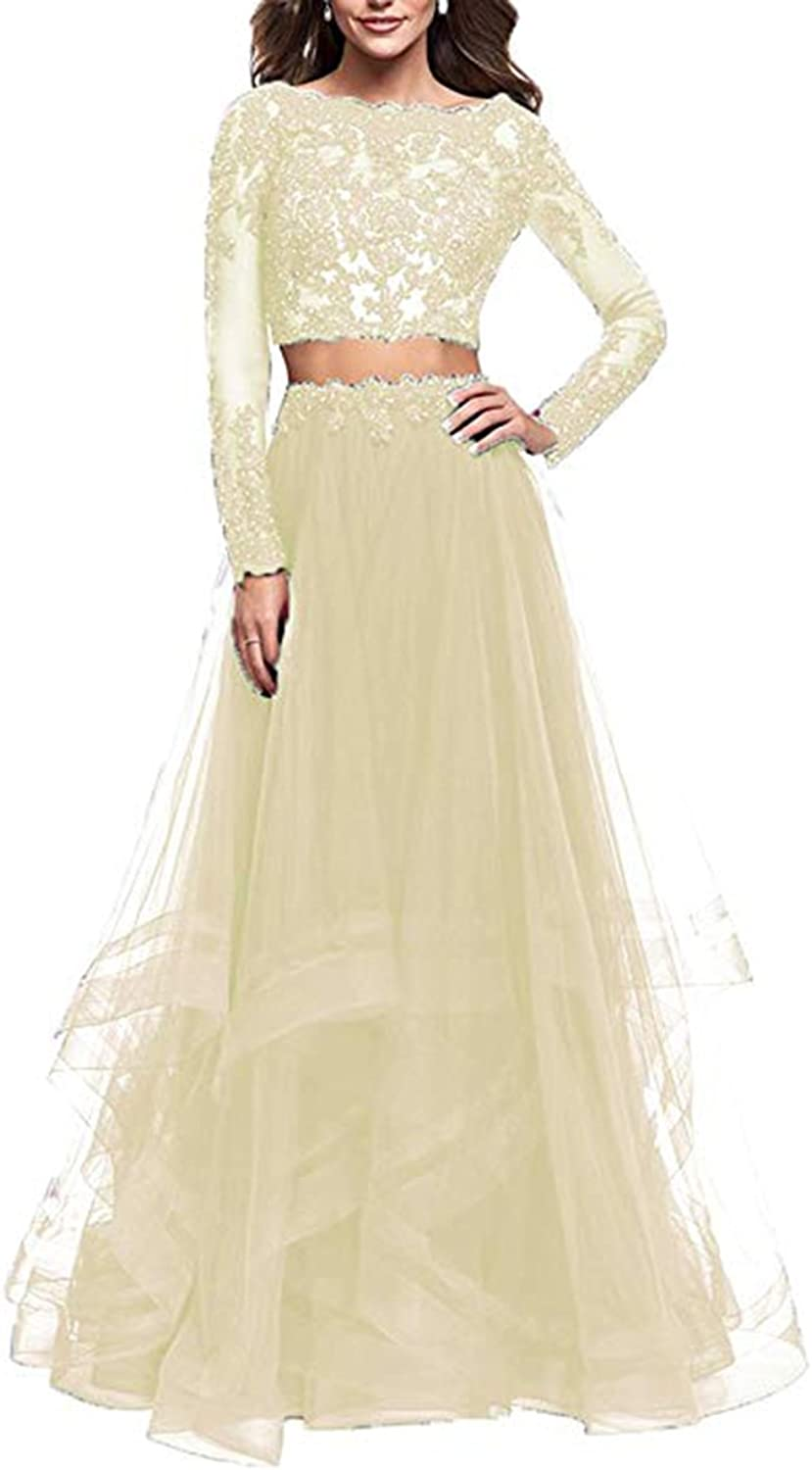 Alilith.Z Sexy Illusion Appliques Tulle 2 Piece Prom Dresses Long Formal Evening Party Gowns for Women with Sleeves