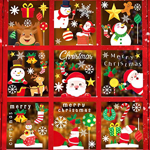Konsait 340pcs Christmas Decals Window Stickers Clings, Cute Snowman,Santa Claus, Reindeer with Static Sticker Decor for Christmas Party Decorations Supplies Favor(11sheets)