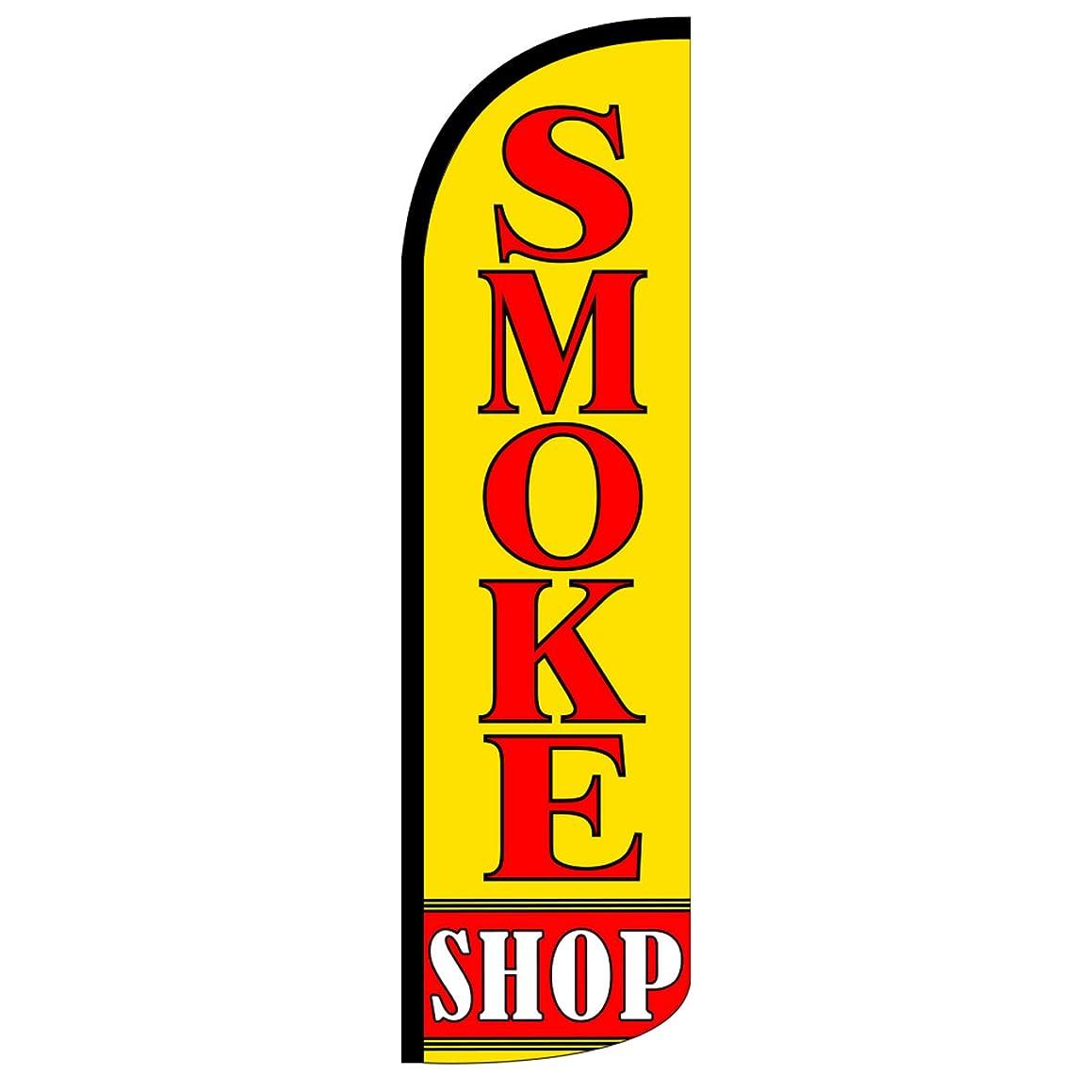 Smoke Shop Windless Feather Swooper Flag Banner Kit: 14' Pole Set, Safety Orange Stake