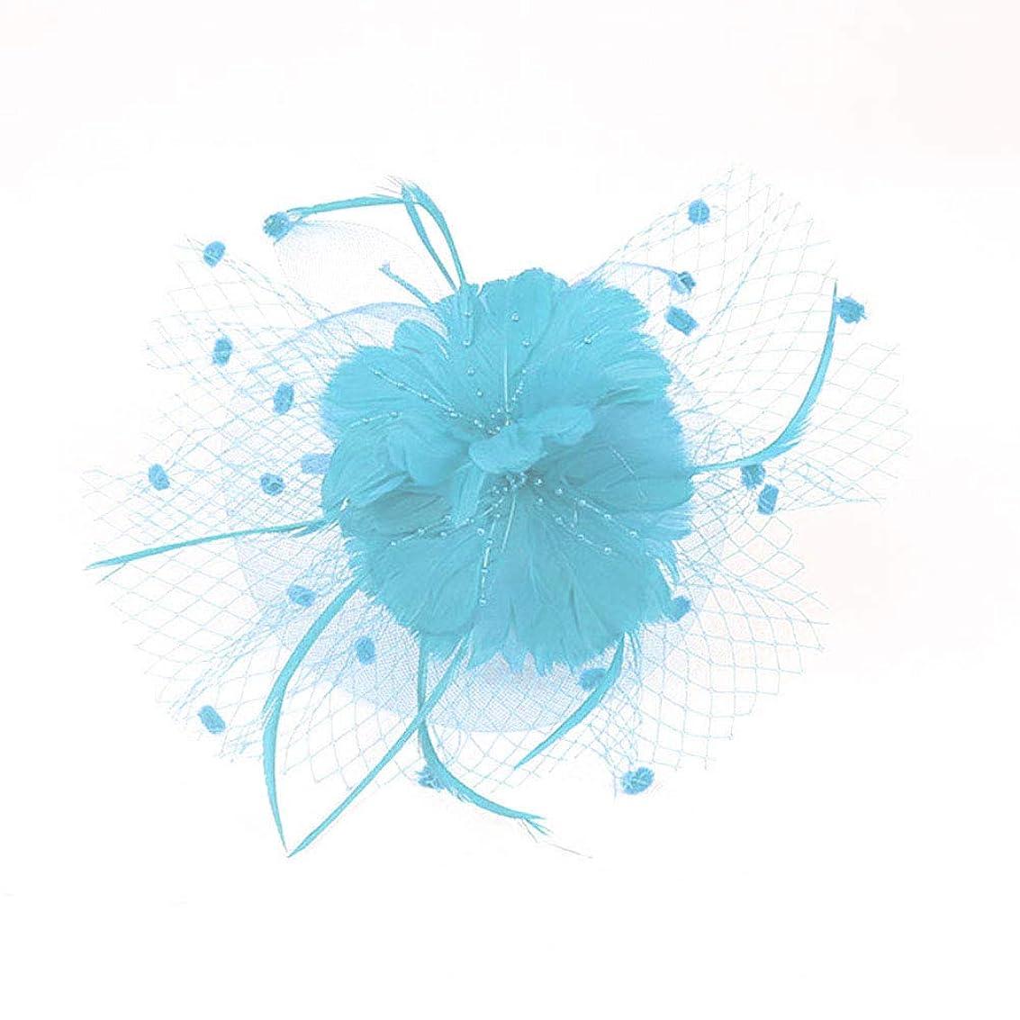 ホールドスティーブンソン規模Beaupretty魅惑的な帽子羽メッシュネットベールパーティー帽子ピルボックス帽子羽の魅惑的なキャップレディース結婚式宴会カクテルパーティー(スカイブルー)