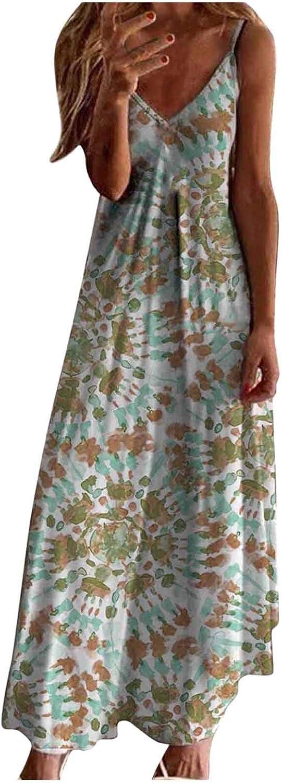 Summer Dresses for Women, Women's V-Neck Flower Casual Maxi Long Dress Sleeveless Plus Size Party Cami Long Sundress