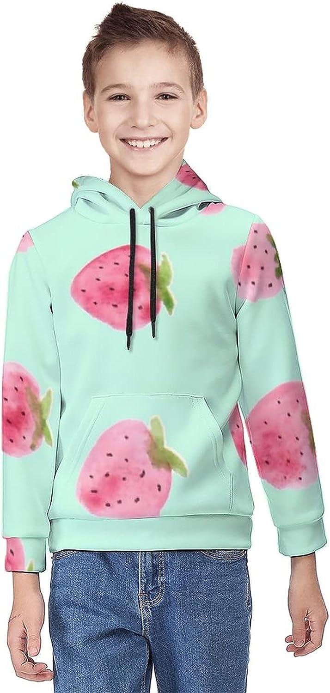 Kimisoy Hooded Sweater for Boys Strawberry in Green Pattern Lightweight Sweatshirt Windbreaker Hooded Shirts