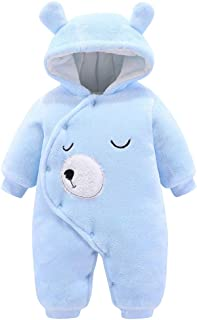 Arystk Infant Romper Newborn Baby Boys Girls Hooded Long Sleeve Cartoon Fleece Jumpsuit