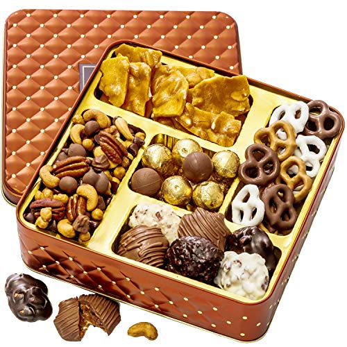 BONNIE AND POP – Nuts and Chocolate Gift Box – Chocolate Covered Pretzels, Assorted Truffles, Mixed Nuts, Smores Mix- Perfect for Christmas and the Holidays
