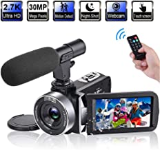 """Video Camera Camcorder with Microphone 2.7K 30FPS 30MP Vlogging Camera with Rotatable 3.0"""" Touch Screen and Time-Lapse YouTube Camera IR Night Vision Webcam"""