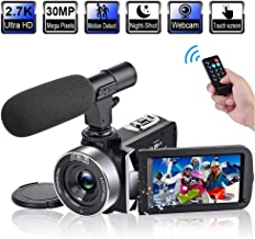Video Camera Camcorder with Microphone 2.7K 30FPS 30MP...