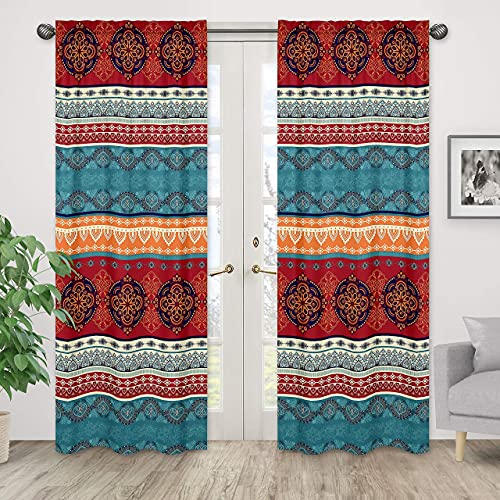 Boho Mandala Bohemian Chic Decorative Window Treatment Panels Curtains Drapes Covering set of 2 - 42x84 Colorful Hipster Indian Tapestry Turquoise Hippie Ethnic Vintage Patterned Teal Blue Red Orange