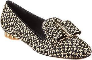 SALVATORE FERRAGAMO Sarno Flower Heel Studded Canvas Loafer, 7 C, Black