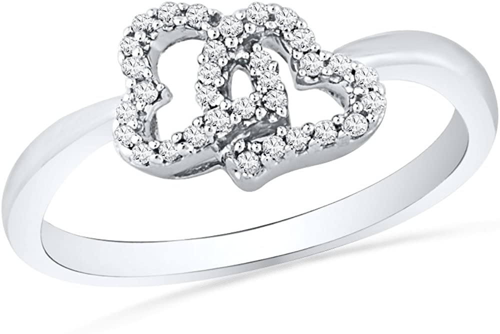 Sterling Silver Round Diamond Double Selling 1 cttw Ring Heart 10 Ranking TOP3
