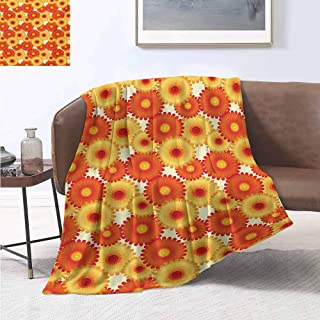 jecycleus Orange Commercial Grade Printed Blanket Gerbera Flowers Petals in Graphic Style Vibrant Summer Nature Design Queen King W54 by L72 Inch Orange Yellow Scarlet