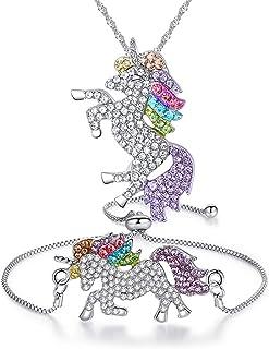 Gioielli Collana Ragazze Arcobaleno Unicorn Bracciale di Cristallo Strass Regali Stabiliti per Best Friend