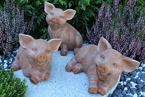 Steinfiguren Spicker Steinfigur Schwein 3er Set, 126/3, 127/3, 175/3 Ferkel, Gartenfigur Steinguss Tierfigur Terrakotta Patina