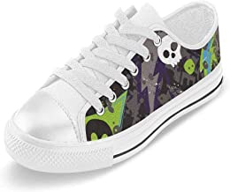 INTERESTPRINT Colored Skull Florals Canvas Shoes Slip-on Lace Up Sneakers for Man Size (6-14) US